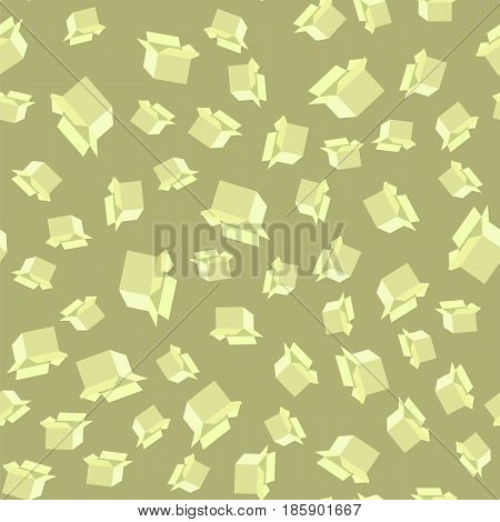 Open Paper Boxes Seamless Pattern on Green Background