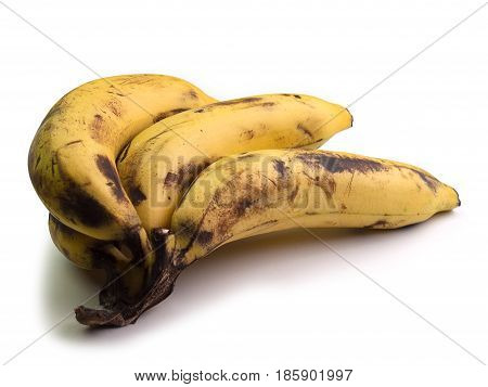 bunch of very ripe bananas On a white background.