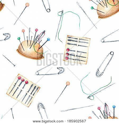 Seamless pattern with watercolor safety pins and needles, hand drawn isolated on a white background