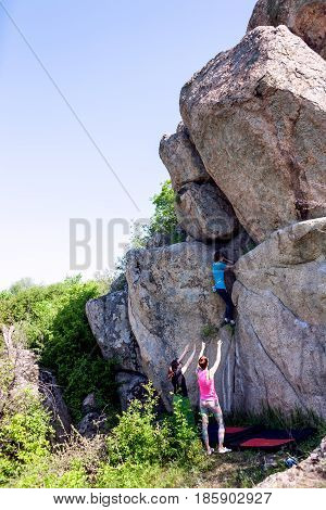 Athletes Are Bouldering Outdoors.