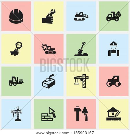 Set Of 16 Editable Building Icons. Includes Symbols Such As Lifting Equipment, Truck, Home Scheduling And More. Can Be Used For Web, Mobile, UI And Infographic Design.