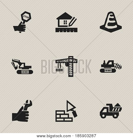 Set Of 9 Editable Structure Icons. Includes Symbols Such As Camion, Mule, Excavation Machine And More. Can Be Used For Web, Mobile, UI And Infographic Design.