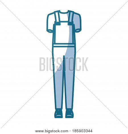 blue silhouette shading of overall man clothing attire vector illustration