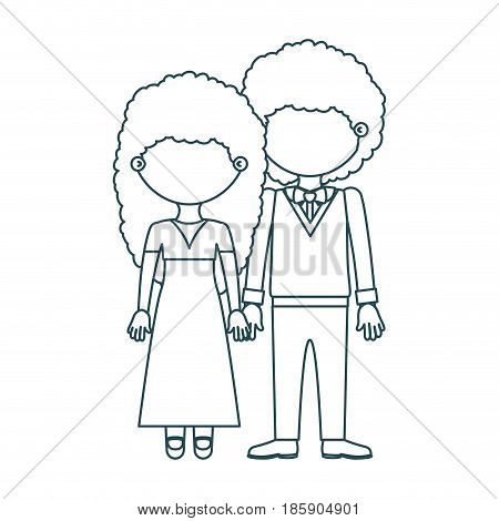 blue contour faceless curly couple woman with long hair in dress and man with bowtie and taken hands vector illustration