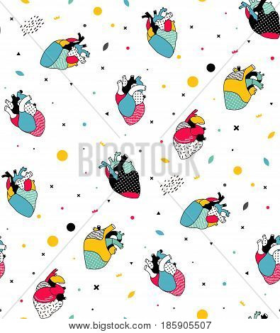Simple pattern of human hearts in the pop art style. Seamless pattern can be used for invitations, fabric, posters, bags, T-shirts. Line illustration.