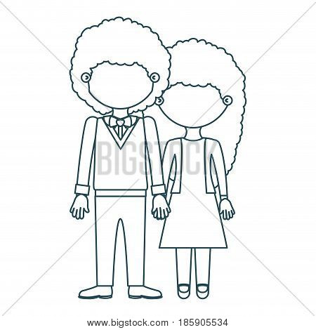blue contour faceless curly couple woman with dress and man with bowtie and taken hands vector illustration