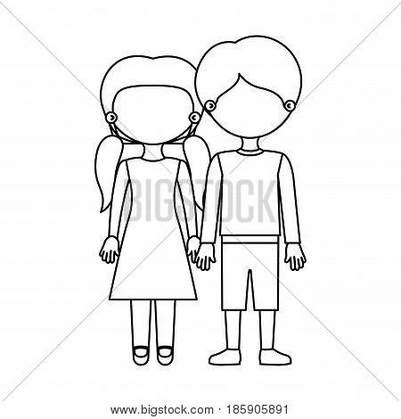 sketch silhouette faceless couple girl with pigtails hair and boy in casual clothing and taken hands vector illustration
