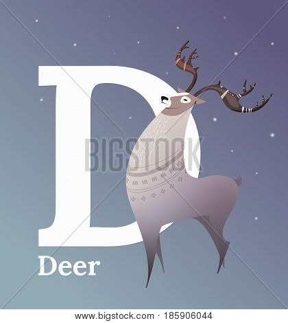 Animal alphabet vector. Flat style. Reindeer standing on a blue background, letter D behind. Educational glossary. North White Deer for children's books, textbooks, illustrating.
