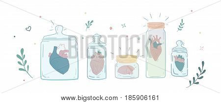 Collection of men's hearts in glass jars. The former relationship. Sad relationship Casanova. Illustration can be used in magazines, print on a T-shirt, cover.