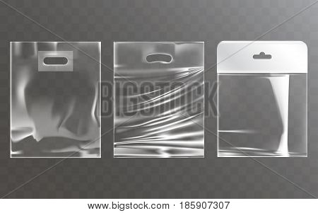 Set of vector illustrations of transparent plastic bags with hang slot, isolated on a transparent background. Mock up template, layout for branded design