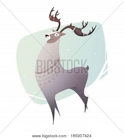 Illustration Reindeer breeding. Children's illustration for magazines, books, coloring books. Northern white deer with big horns can be used as a print on t-shirts, bags, invitations. Deer vector character.