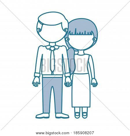 blue contour with color sections faceless couple woman with side ponytail hair and man with necktie and taken hands vector illustration