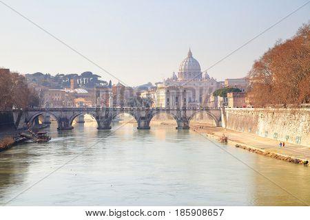 Tiber river and Basilica di San Pietro in Rome, Italy