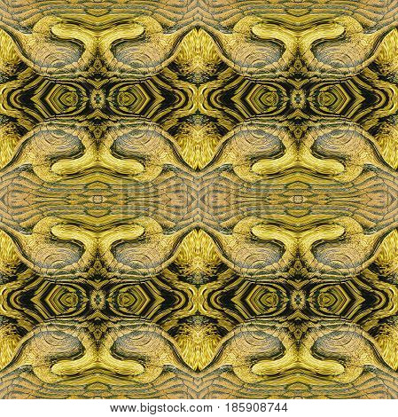 Seamless abstract pattern resembling a snake skin. Yellow, orange and black leather reptile pattern. 3d rendering