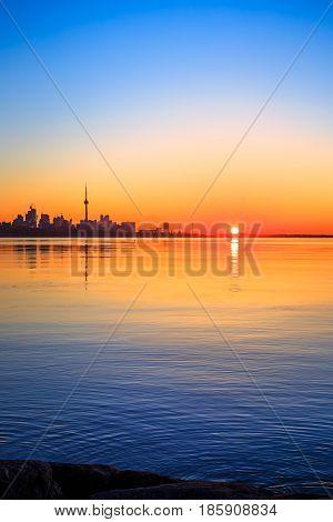 View of lake Ontario & Toronto city during sunrise