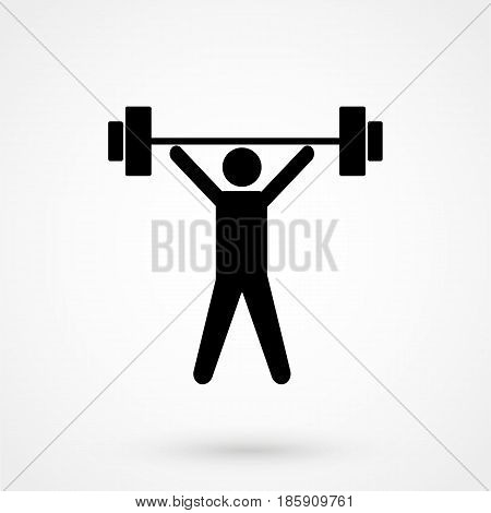 Weightlifter Icon Vector Illustration On The White Background.
