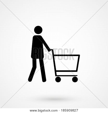 Silhouettes Of People Out Shopping. Shopping Icon Design