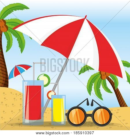 summer umbrella, glasses and cocktail over sand with a beautiful sunny beach, vector illustration