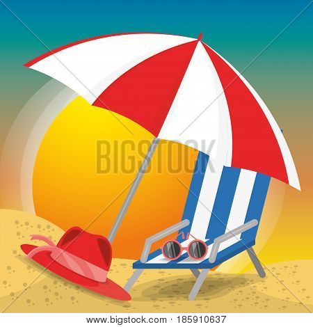 summer umbrella, sun glasses, chair and hat over sand with a beautiful sunny beach, vector illustration