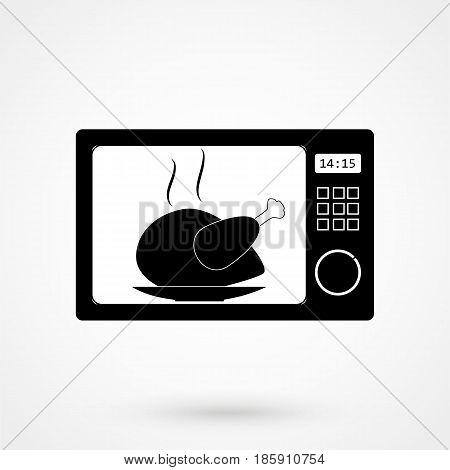 Microwave Icon. Kitchen Equipment Flat Design Isolated On Background