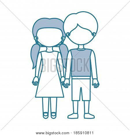 blue contour with color sections faceless couple girl with pigtails hair and boy in casual clothing and taken hands vector illustration