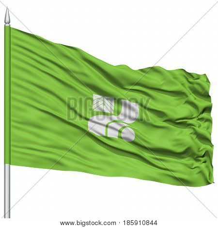 Isolated Tochigi Japan Prefecture Flag on Flagpole, Flying in the Wind, Isolated on White Background