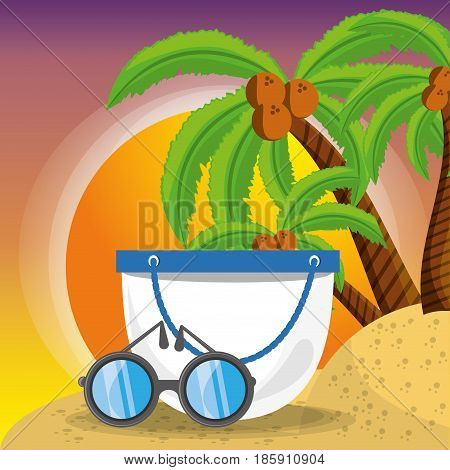 summer bag and sun glasses over sand with a beautiful sunny beach, vector illustration