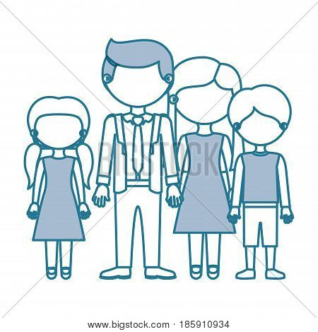 blue contour with color sections faceless family group in elegant clothing and taken hands vector illustration