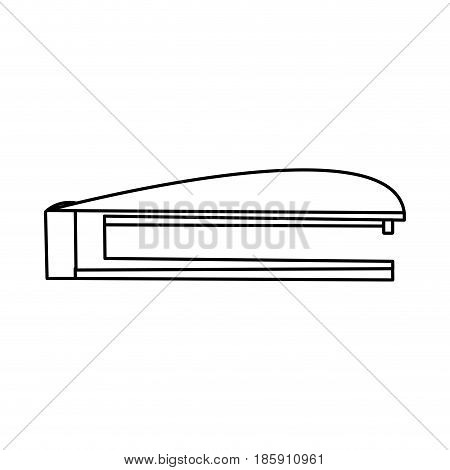 stapler and metal staple office utensil line vector illustration