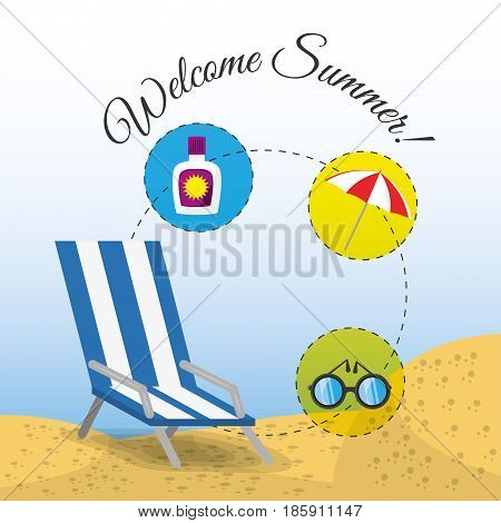 summer umbrella, sun glasses, chair and sunscreen over sand with a beautiful sunny beach, vector illustration