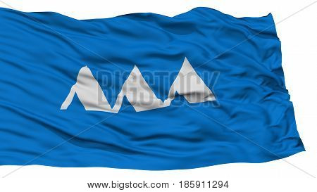 Isolated Yamagata Japan Prefecture Flag, Waving on White Background, High Resolution