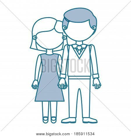 blue contour with color sections faceless couple woman with short hair and man with bowtie and taken hands vector illustration