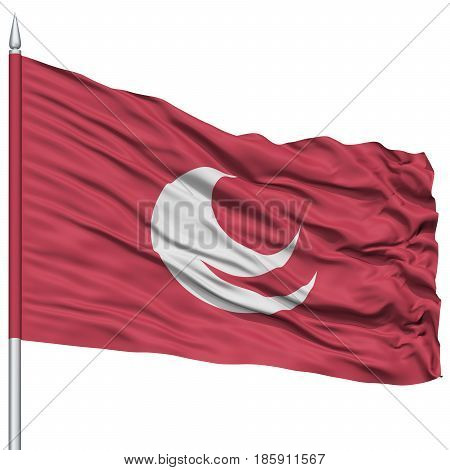Isolated Hiroshima Japan Prefecture Flag on Flagpole, Flying in the Wind, Isolated on White Background