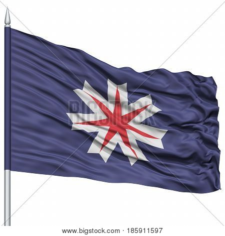 Isolated Hokkaido Japan Prefecture Flag on Flagpole, Flying in the Wind, Isolated on White Background