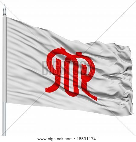Isolated Kanagawa Japan Prefecture Flag on Flagpole, Flying in the Wind, Isolated on White Background