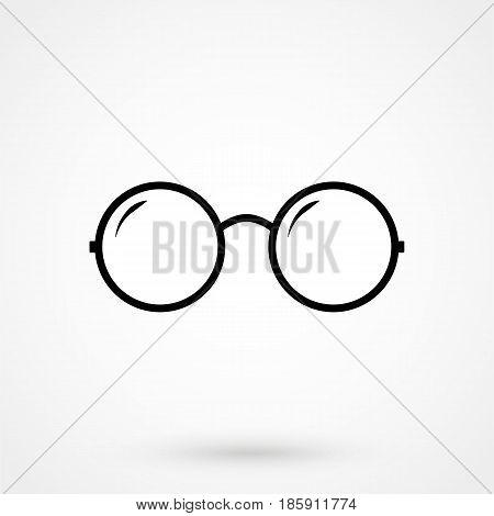 Vector Round Glasses Icon Symbol Set