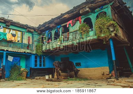 Vashisht. India. April 21 2017. Traditional house for the Himalayan region with a balcony and a cow from below