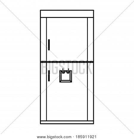 refrigerator freeze modern, stainless steel outline vector illustration