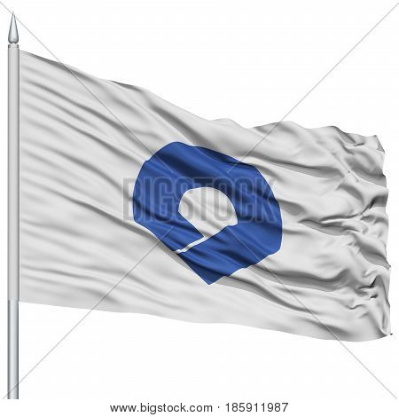 Isolated Wakayama Japan Prefecture Flag on Flagpole, Flying in the Wind, Isolated on White Background
