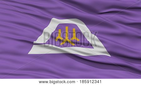 Closeup Yamanashi Japan Prefecture Flag, Waving in the Wind, High Resolution