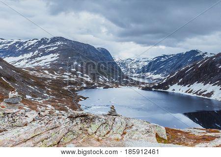 Tourism holidays and travel. Djupvatnet lake in Stranda More og Romsdal Norway Scandinavia.