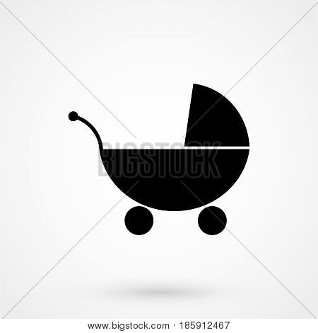 Baby Stroller Icon Flat Design Isolated On Background