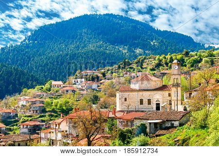 view of mountain village Baltessiniko in Arcadia Peloponnese Greece