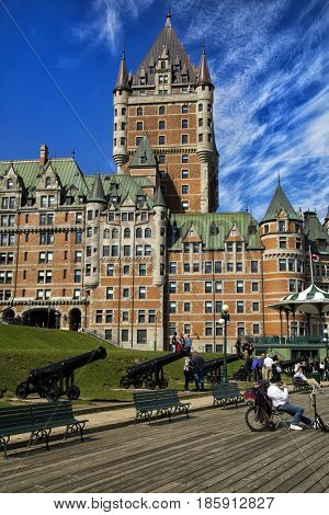 QUEBEC-CANADA, SEPTEMBER 16, 2016: Château Frontenac is a grand hotel in Quebec City,  generally recognized as the most photographed hotel in the world for its prominence in the skyline of Quebec City