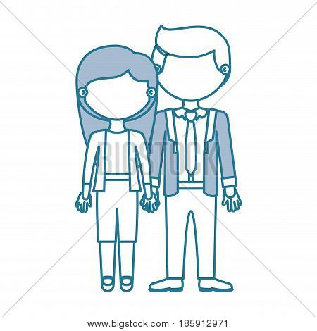 blue contour with color sections faceless couple woman with long hair with man in formal style and taken hands vector illustration