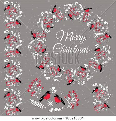 Merry Christmas. Winter Items With Bullfinches For Decoration