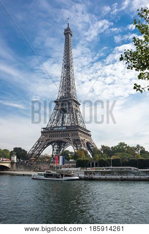 PARIS FRANCE - OCTOBER 12 2015: View from river Seine at famous Tour Eiffel in sunny autumn day Paris France