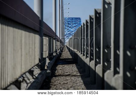 Perspective of the blue bridge lines across the Yenisei River