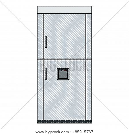 drawing refrigerator freeze modern, stainless steel vector illustration