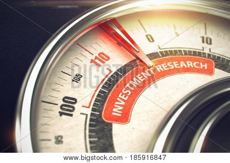 Conceptual Illustration of a Rev Counter with Red Needle Pointing to Maximum of Investment Research. Horizontal image. 3D Render.